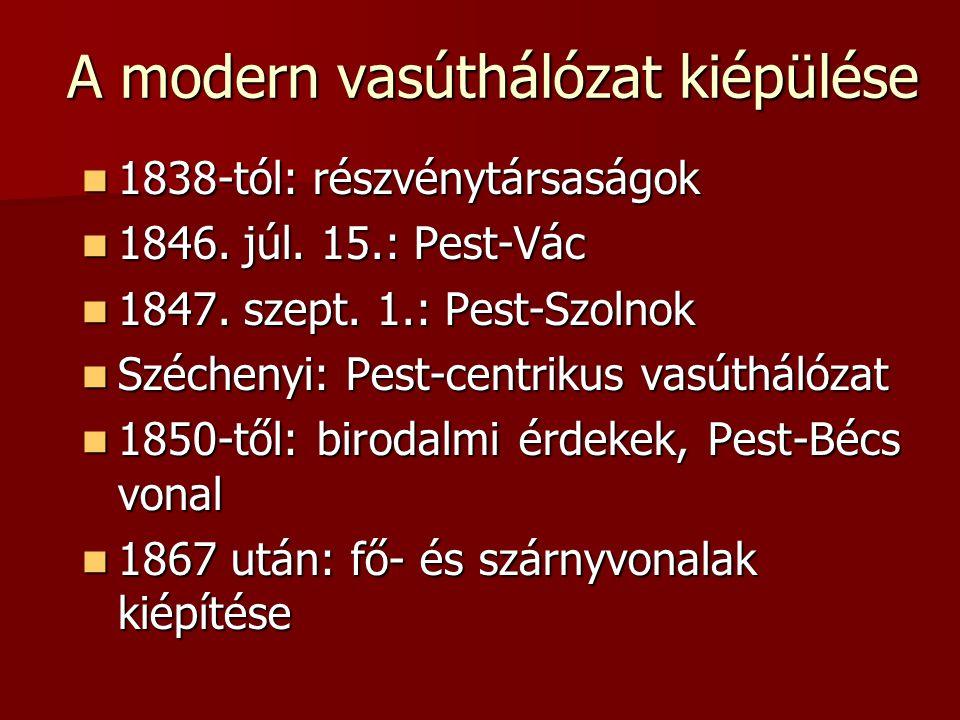 A modern vasúthálózat kiépülése  1838-tól: részvénytársaságok  1846. júl. 15.: Pest-Vác  1847. szept. 1.: Pest-Szolnok  Széchenyi: Pest-centrikus