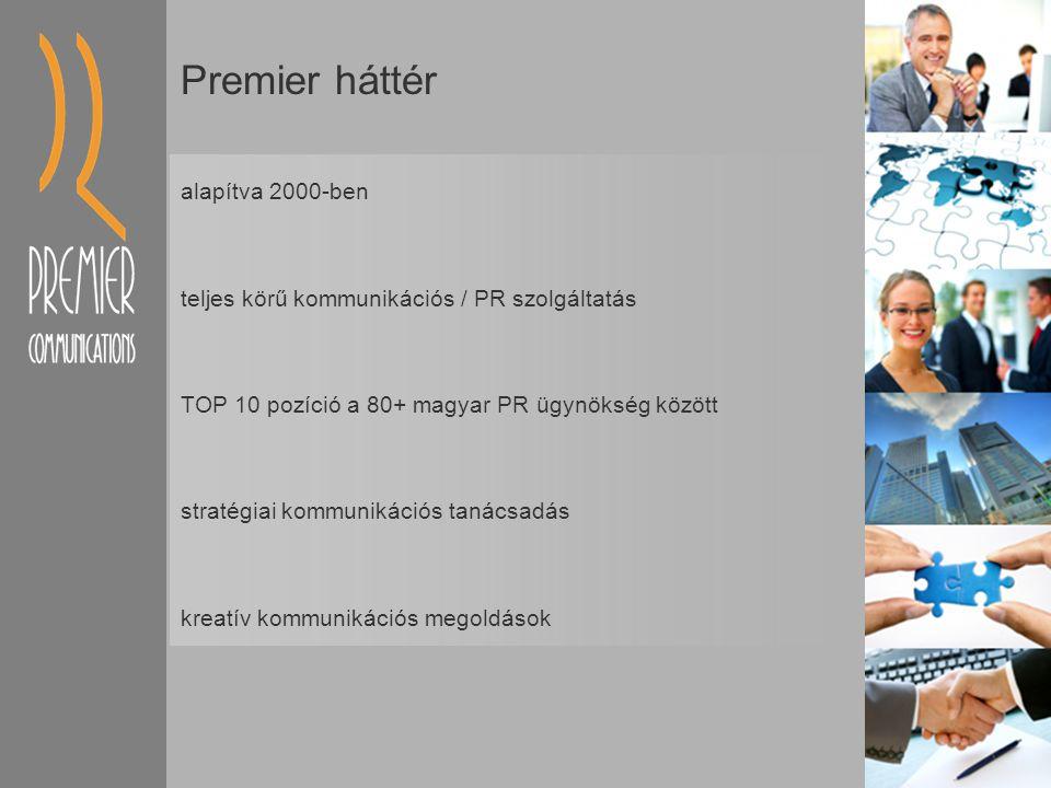 Premier háttér alapítva 2000-ben teljes körű kommunikációs / PR szolgáltatás TOP 10 pozíció a 80+ magyar PR ügynökség között stratégiai kommunikációs tanácsadás kreatív kommunikációs megoldások