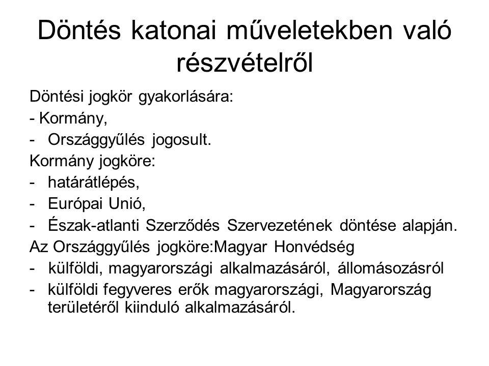 Döntés katonai műveletekben való részvételről Döntési jogkör gyakorlására: - Kormány, -Országgyűlés jogosult.