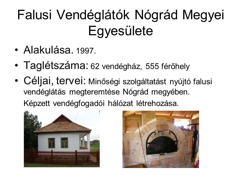 Falusi Vendéglátók Nógrád Megyei Egyesülete •Alakulása. 1997. •Taglétszáma: 62 vendégház, 555 férőhely •Céljai, tervei: Minőségi szolgáltatást nyújtó