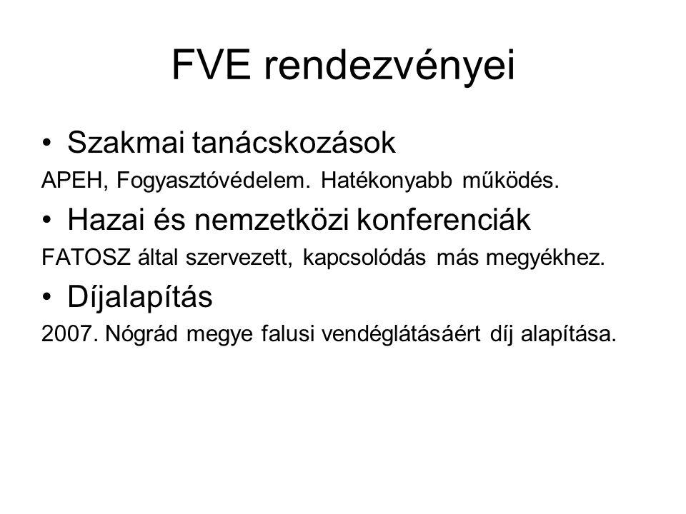 FVE rendezvényei •Szakmai tanácskozások APEH, Fogyasztóvédelem. Hatékonyabb működés. •Hazai és nemzetközi konferenciák FATOSZ által szervezett, kapcso