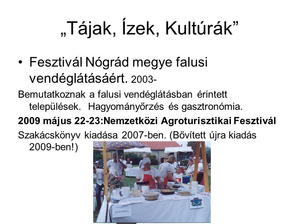 """""""Tájak, Ízek, Kultúrák"""" •Fesztivál Nógrád megye falusi vendéglátásáért. 2003- Bemutatkoznak a falusi vendéglátásban érintett települések. Hagyományőrz"""