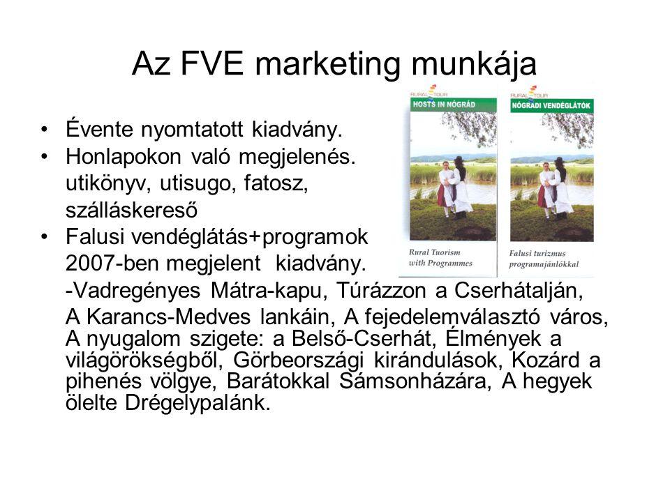 Az FVE marketing munkája •Évente nyomtatott kiadvány. •Honlapokon való megjelenés. utikönyv, utisugo, fatosz, szálláskereső •Falusi vendéglátás+progra