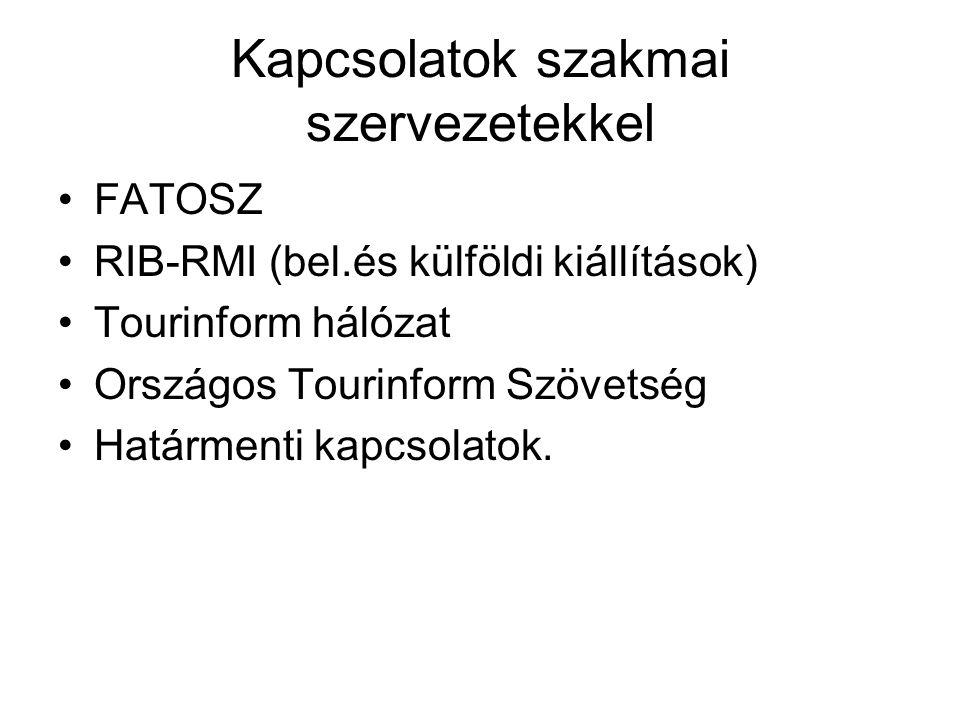 Kapcsolatok szakmai szervezetekkel •FATOSZ •RIB-RMI (bel.és külföldi kiállítások) •Tourinform hálózat •Országos Tourinform Szövetség •Határmenti kapcs