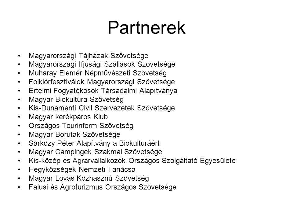 Partnerek •Magyarországi Tájházak Szövetsége •Magyarországi Ifjúsági Szállások Szövetsége •Muharay Elemér Népművészeti Szövetség •Folklórfesztiválok M