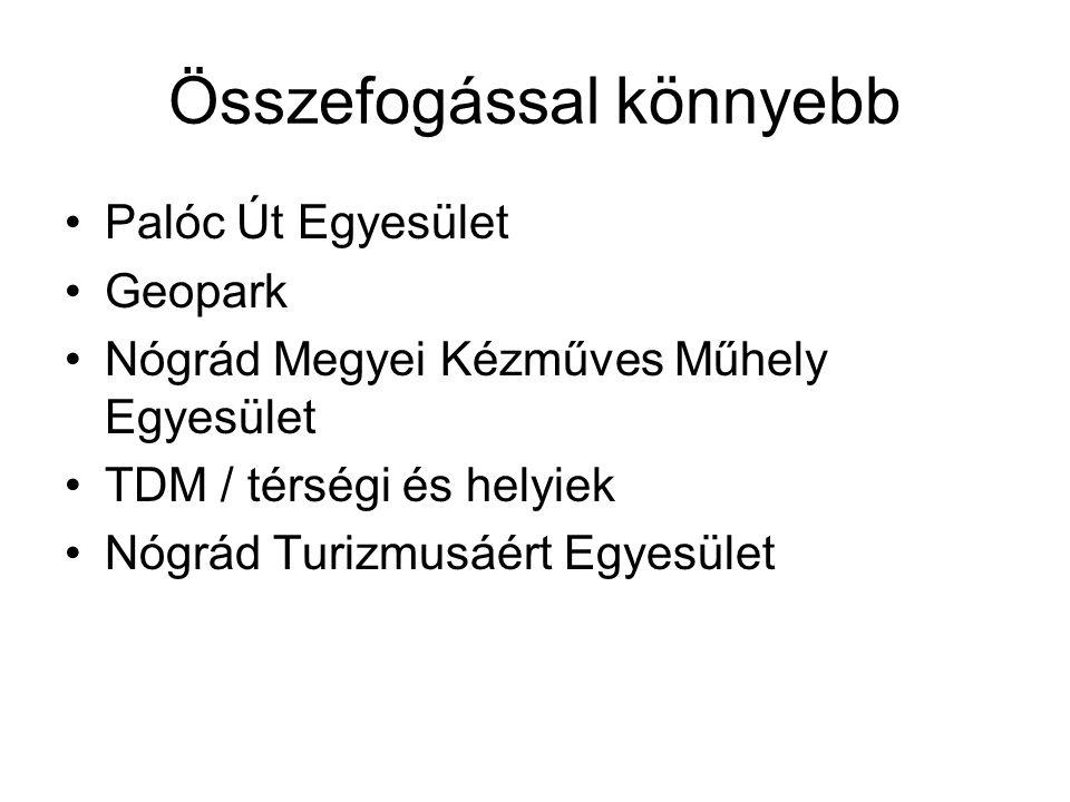 Összefogással könnyebb •Palóc Út Egyesület •Geopark •Nógrád Megyei Kézműves Műhely Egyesület •TDM / térségi és helyiek •Nógrád Turizmusáért Egyesület