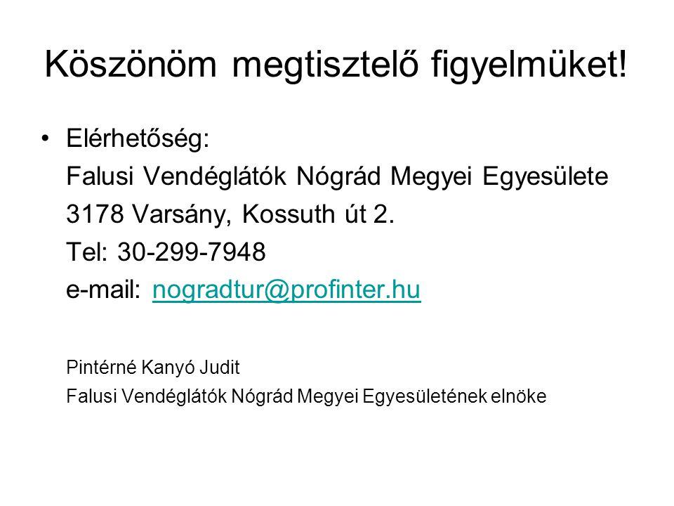 Köszönöm megtisztelő figyelmüket! •Elérhetőség: Falusi Vendéglátók Nógrád Megyei Egyesülete 3178 Varsány, Kossuth út 2. Tel: 30-299-7948 e-mail: nogra