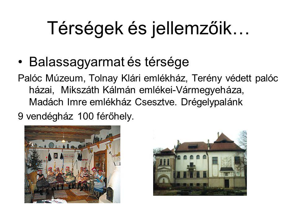 Térségek és jellemzőik… •Balassagyarmat és térsége Palóc Múzeum, Tolnay Klári emlékház, Terény védett palóc házai, Mikszáth Kálmán emlékei-Vármegyeház