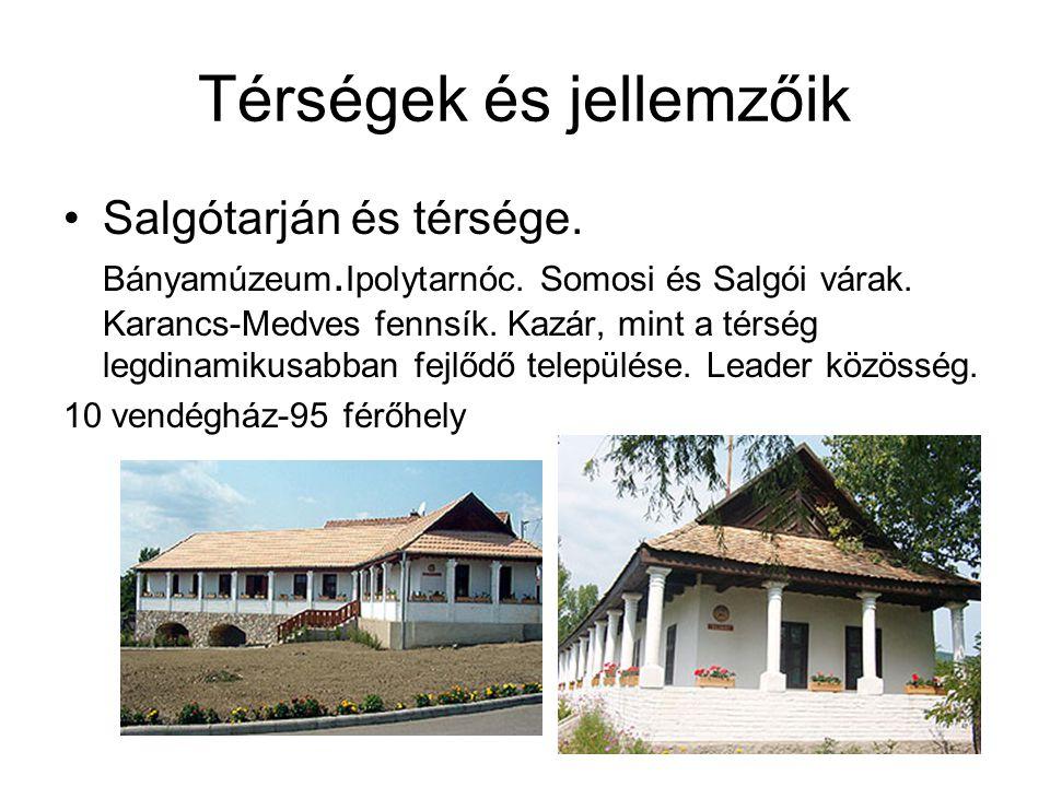 Térségek és jellemzőik •Salgótarján és térsége. Bányamúzeum. Ipolytarnóc. Somosi és Salgói várak. Karancs-Medves fennsík. Kazár, mint a térség legdina