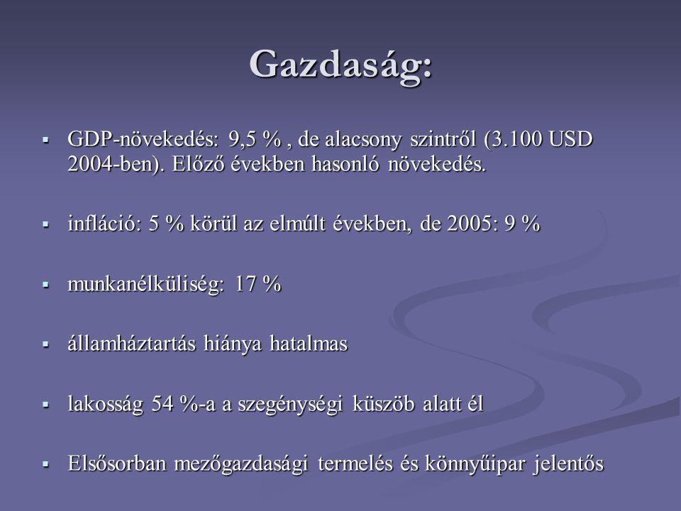 Gazdaság:  GDP-növekedés: 9,5 %, de alacsony szintről (3.100 USD 2004-ben). Előző években hasonló növekedés.  infláció: 5 % körül az elmúlt években,