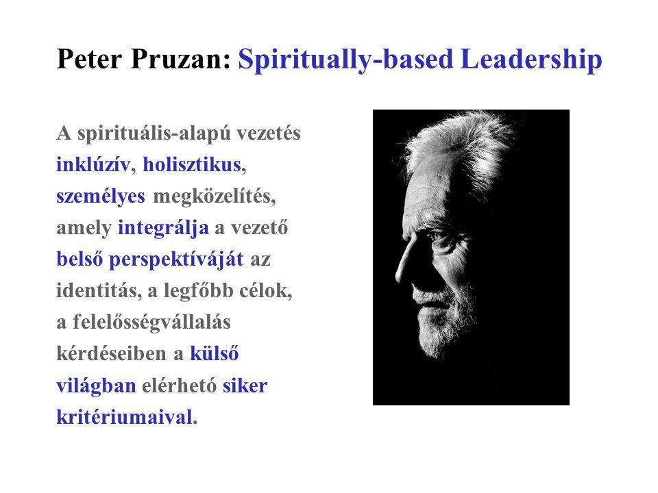 Peter Pruzan: Spiritually-based Leadership A spirituális-alapú vezetés inklúzív, holisztikus, személyes megközelítés, amely integrálja a vezető belső perspektíváját az identitás, a legfőbb célok, a felelősségvállalás kérdéseiben a külső világban elérhetó siker kritériumaival.