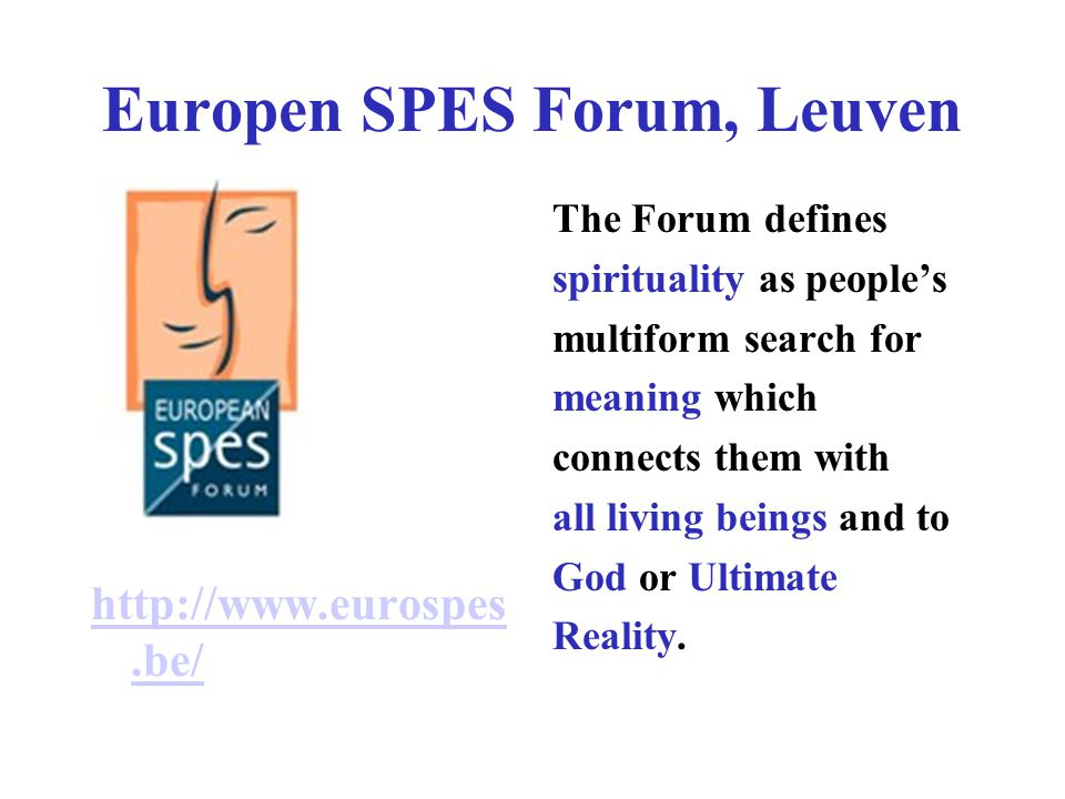 Europen SPES Forum, Leuven The Forum defines spirituality as people's multiform search for meaning which connects them with all living beings and to G