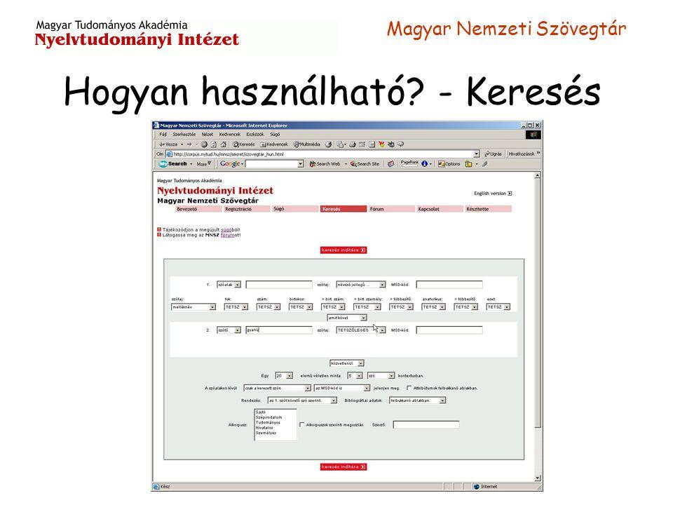 Magyar Nemzeti Szövegtár Hogyan használható? - Keresés