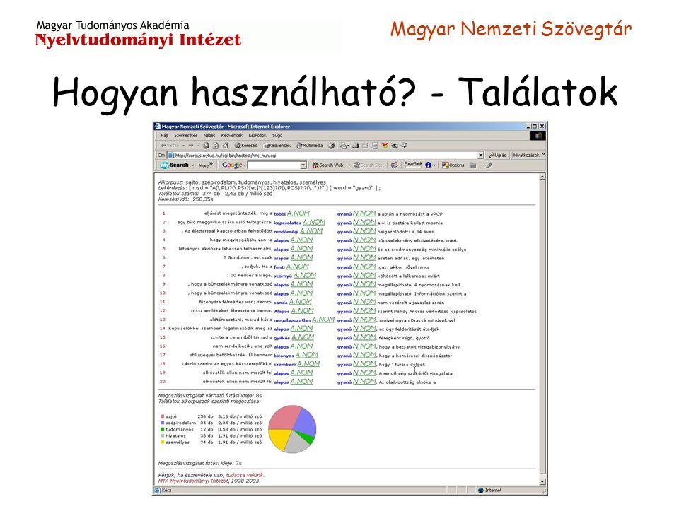 Magyar Nemzeti Szövegtár Hogyan használható? - Találatok