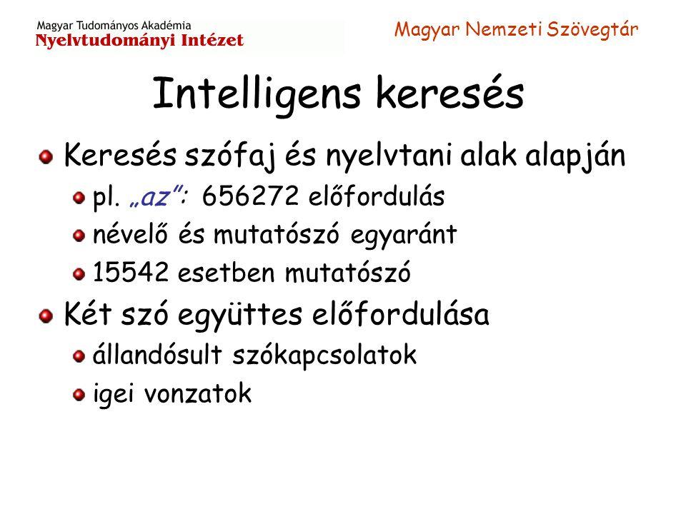 """Magyar Nemzeti Szövegtár Intelligens keresés Keresés szófaj és nyelvtani alak alapján pl. """"az"""": 656272 előfordulás névelő és mutatószó egyaránt 15542"""