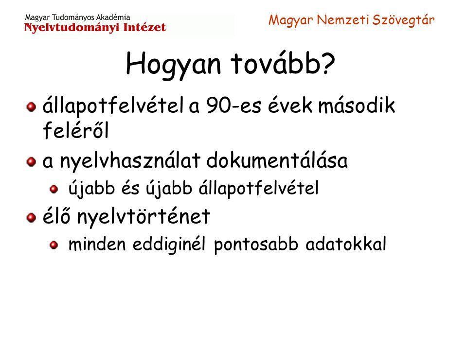 Magyar Nemzeti Szövegtár Hogyan tovább? állapotfelvétel a 90-es évek második feléről a nyelvhasználat dokumentálása újabb és újabb állapotfelvétel élő