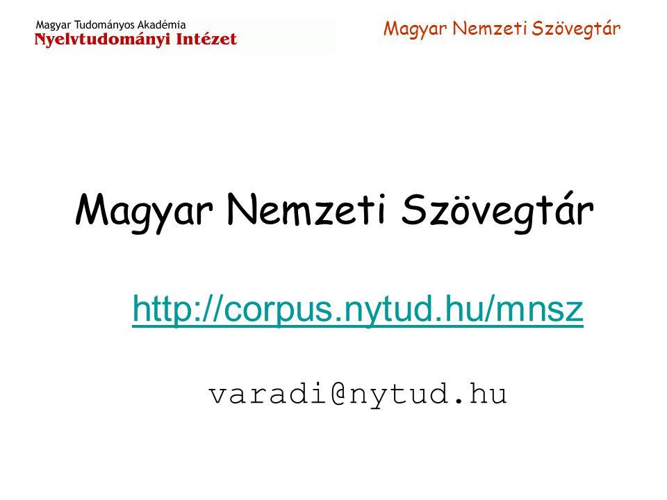 Magyar Nemzeti Szövegtár http://corpus.nytud.hu/mnsz varadi@nytud.hu