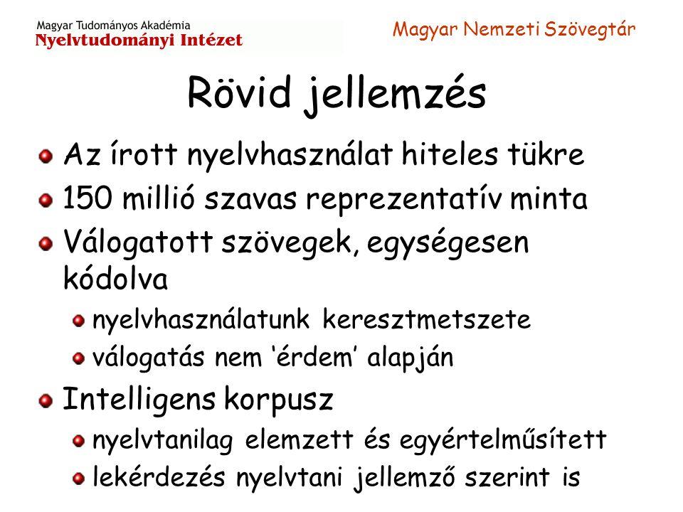 Magyar Nemzeti Szövegtár Rövid jellemzés Az írott nyelvhasználat hiteles tükre 150 millió szavas reprezentatív minta Válogatott szövegek, egységesen k