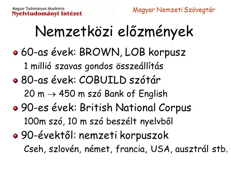 Magyar Nemzeti Szövegtár Nemzetközi előzmények 60-as évek: BROWN, LOB korpusz 1 millió szavas gondos összeállítás 80-as évek: COBUILD szótár 20 m  45
