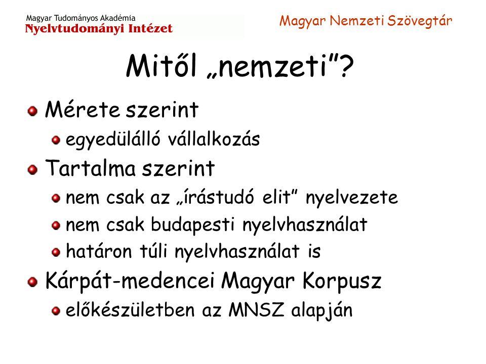 """Magyar Nemzeti Szövegtár Mitől """"nemzeti""""? Mérete szerint egyedülálló vállalkozás Tartalma szerint nem csak az """"írástudó elit"""" nyelvezete nem csak buda"""