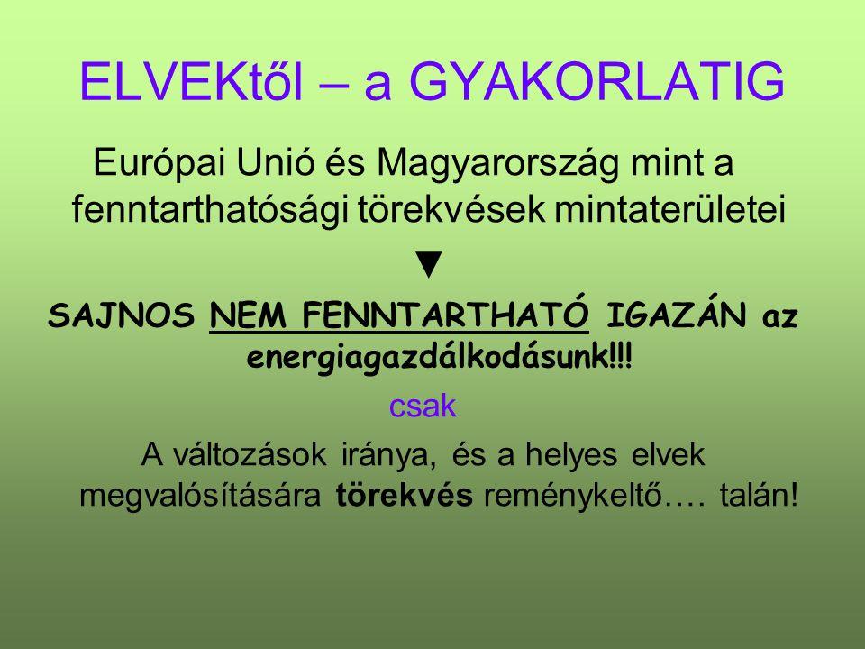 ELVEKtől – a GYAKORLATIG Európai Unió és Magyarország mint a fenntarthatósági törekvések mintaterületei ▼ SAJNOS NEM FENNTARTHATÓ IGAZÁN az energiagazdálkodásunk!!.
