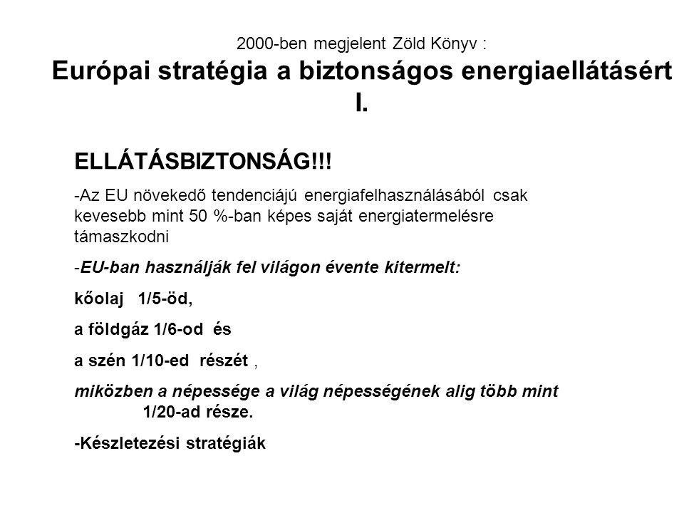 2000-ben megjelent Zöld Könyv : Európai stratégia a biztonságos energiaellátásért I.