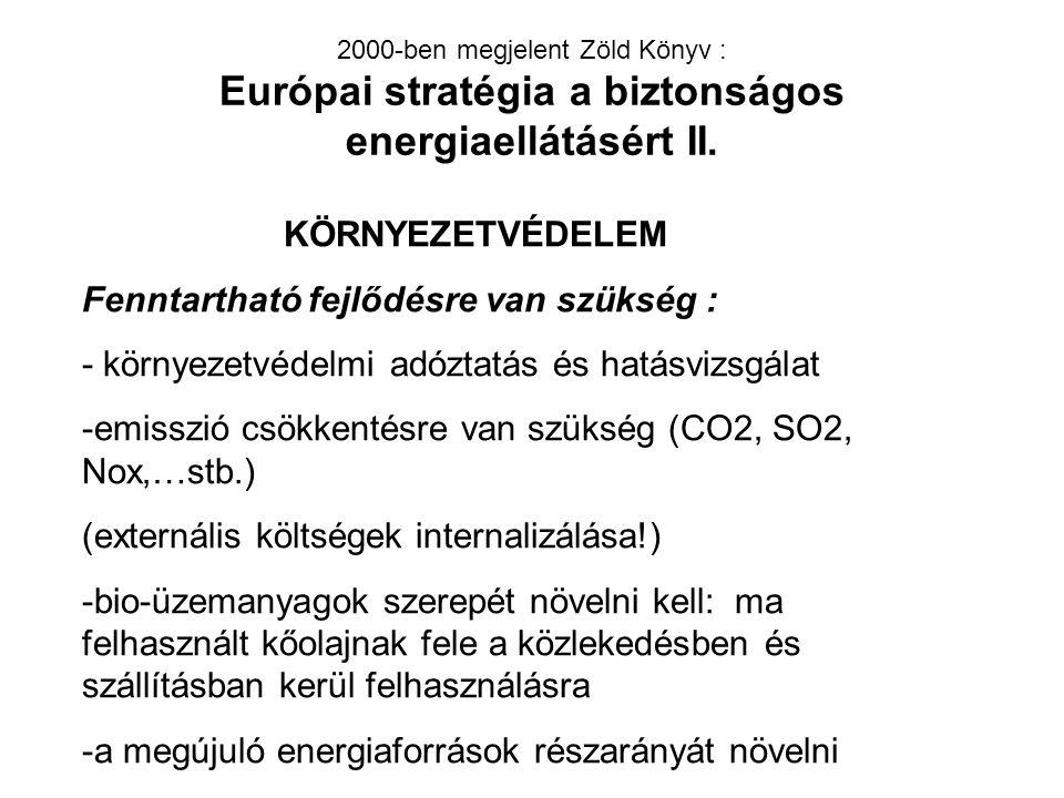 2000-ben megjelent Zöld Könyv : Európai stratégia a biztonságos energiaellátásért II.