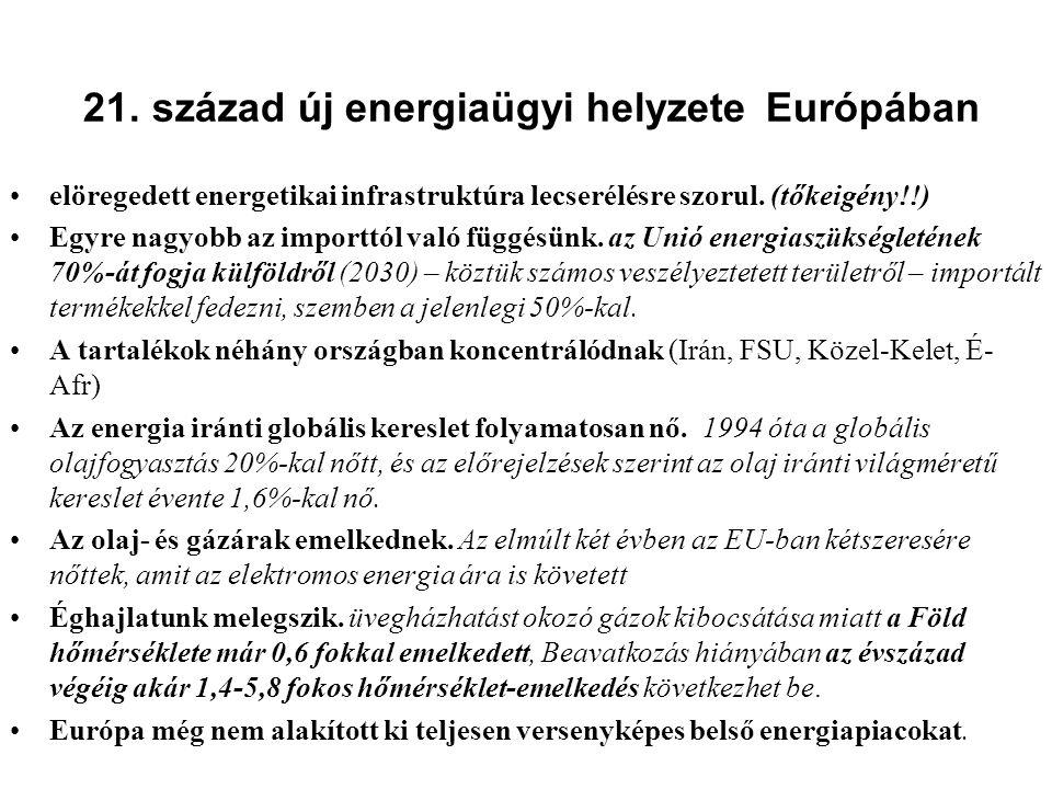 21. század új energiaügyi helyzete Európában •elöregedett energetikai infrastruktúra lecserélésre szorul. (tőkeigény!!) •Egyre nagyobb az importtól va
