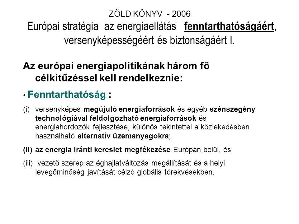 ZÖLD KÖNYV - 2006 Európai stratégia az energiaellátás fenntarthatóságáért, versenyképességéért és biztonságáért I.