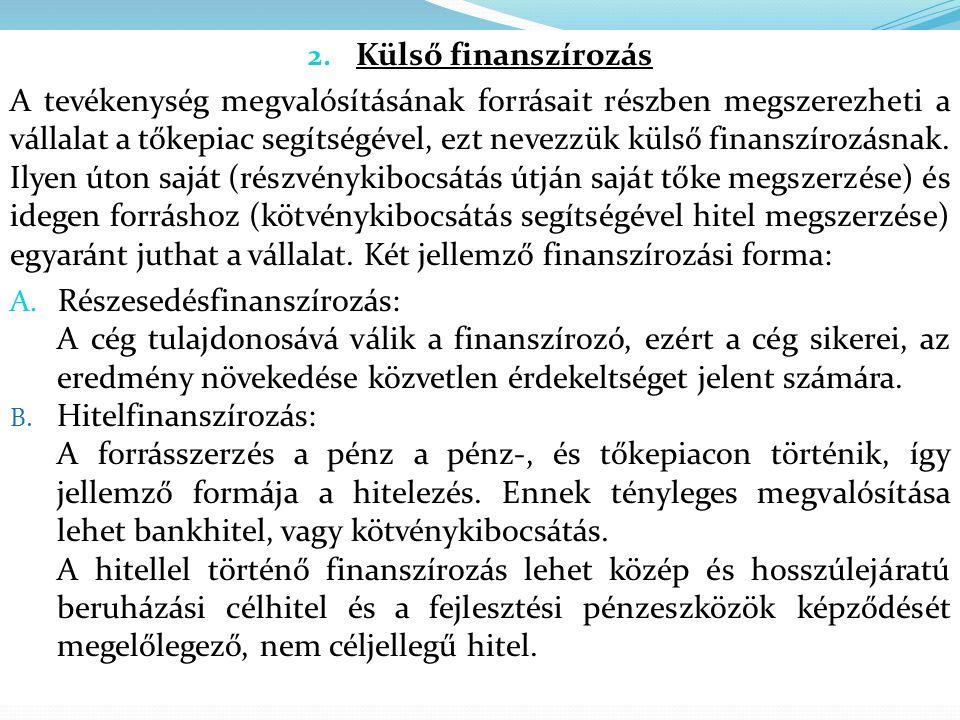 2. Külső finanszírozás A tevékenység megvalósításának forrásait részben megszerezheti a vállalat a tőkepiac segítségével, ezt nevezzük külső finanszír