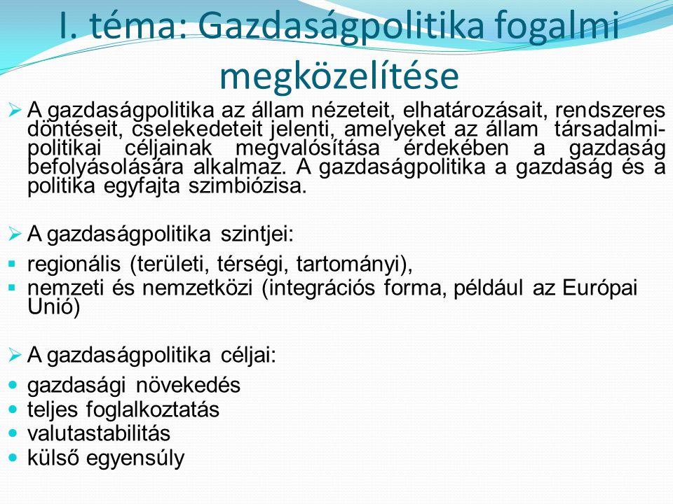 I. téma: Gazdaságpolitika fogalmi megközelítése  A gazdaságpolitika az állam nézeteit, elhatározásait, rendszeres döntéseit, cselekedeteit jelenti, a