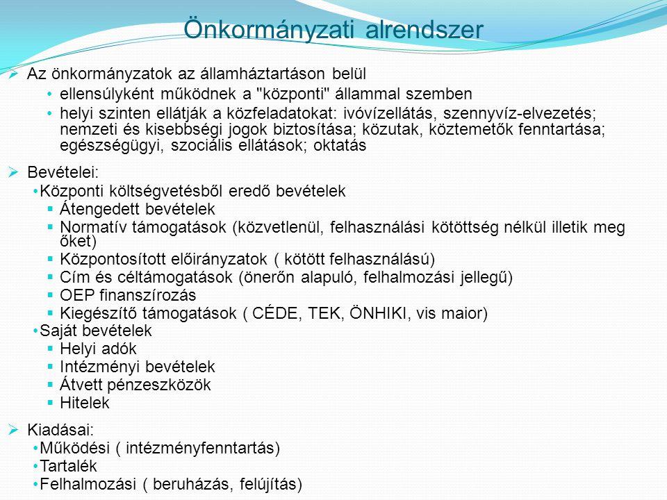 Önkormányzati alrendszer  Az önkormányzatok az államháztartáson belül • ellensúlyként működnek a