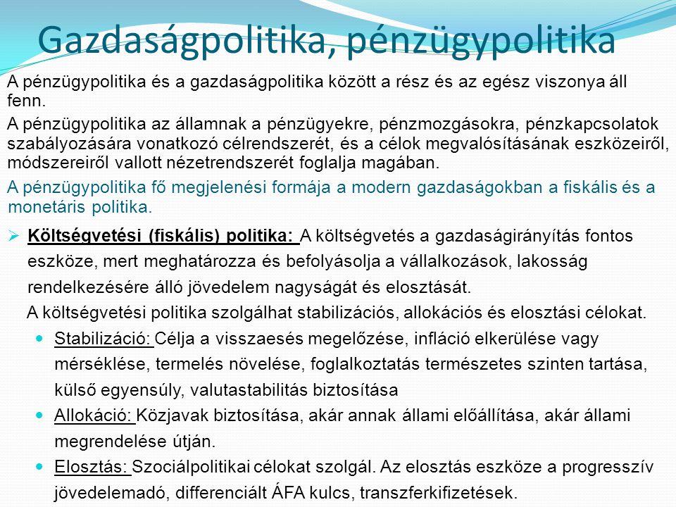 A költségvetési politika a pénzügyi politika szerves része, de viszonylagos önállósággal bír, mert saját eszközrendszerrel (pl.