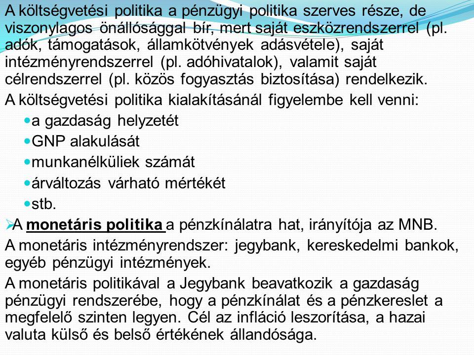 A monetáris politika fajtái:  Expanzív: a nominális pénzmennyiség, ezáltal a kereslet növelését célozza meg.