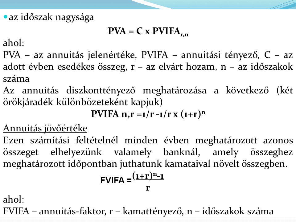  az időszak nagysága PVA = C x PVIFA r,n ahol: PVA – az annuitás jelenértéke, PVIFA – annuitási tényező, C – az adott évben esedékes összeg, r – az e
