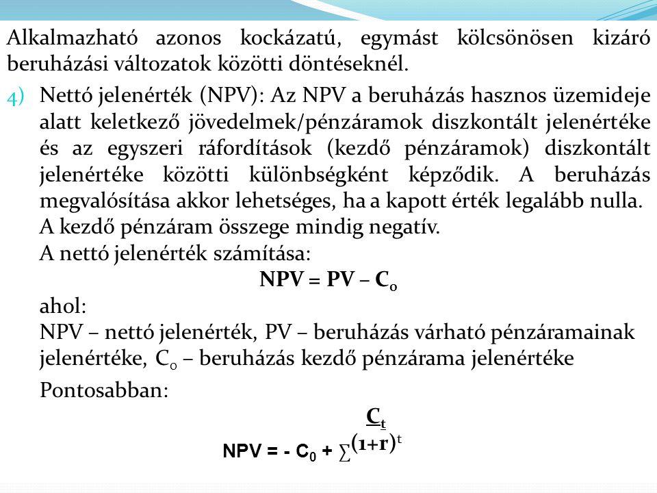 Alkalmazható azonos kockázatú, egymást kölcsönösen kizáró beruházási változatok közötti döntéseknél. 4) Nettó jelenérték (NPV): Az NPV a beruházás has