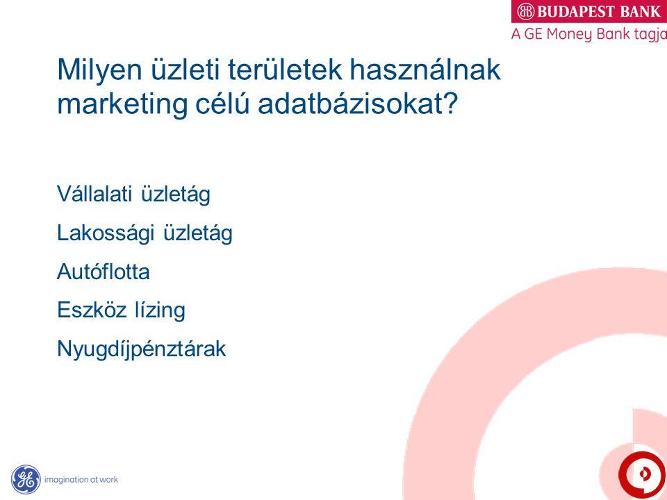 Milyen üzleti területek használnak marketing célú adatbázisokat? Vállalati üzletág Lakossági üzletág Autóflotta Eszköz lízing Nyugdíjpénztárak
