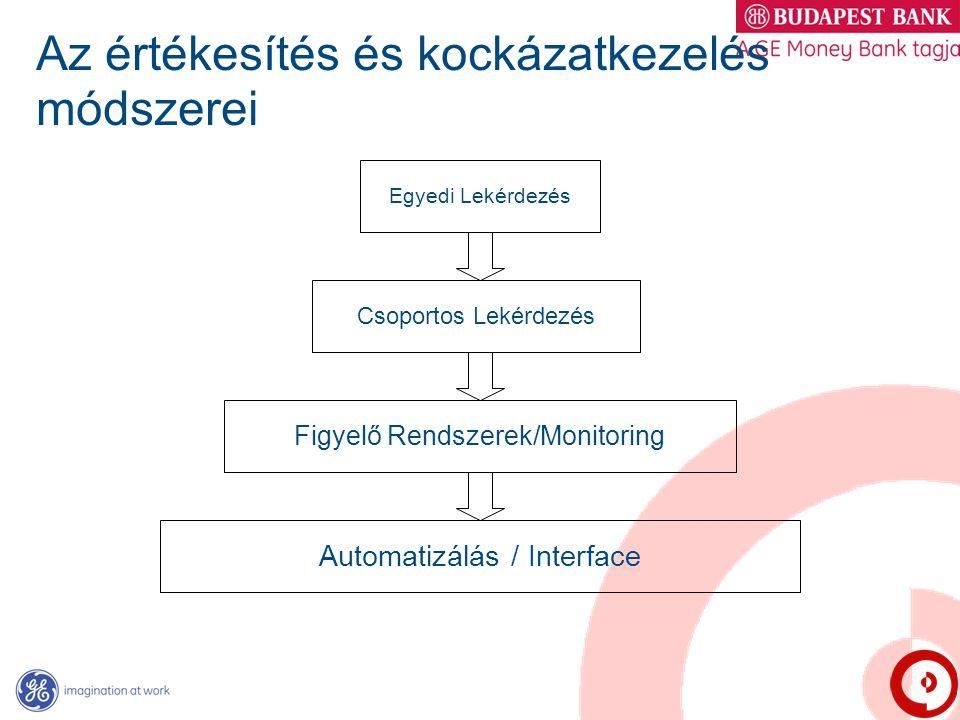 Az értékesítés és kockázatkezelés módszerei Egyedi Lekérdezés Csoportos Lekérdezés Figyelő Rendszerek/Monitoring Automatizálás / Interface
