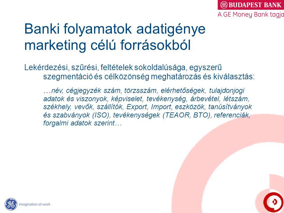 Banki folyamatok adatigénye marketing célú forrásokból Lekérdezési, szűrési, feltételek sokoldalúsága, egyszerű szegmentáció és célközönség meghatároz
