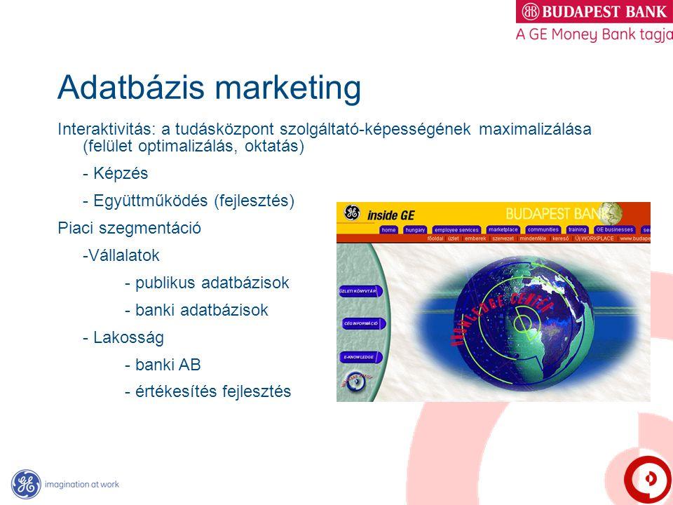 Adatbázis marketing Interaktivitás: a tudásközpont szolgáltató-képességének maximalizálása (felület optimalizálás, oktatás) - Képzés - Együttműködés (