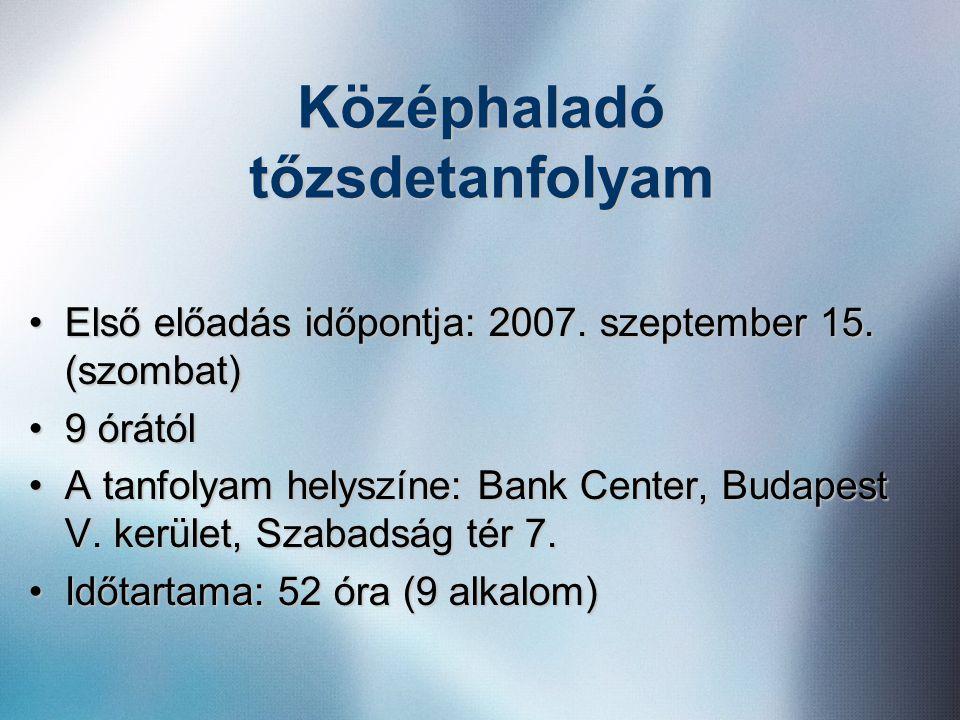 Középhaladó tőzsdetanfolyam •Első előadás időpontja: 2007. szeptember 15. (szombat) •9 órától •A tanfolyam helyszíne: Bank Center, Budapest V. kerület