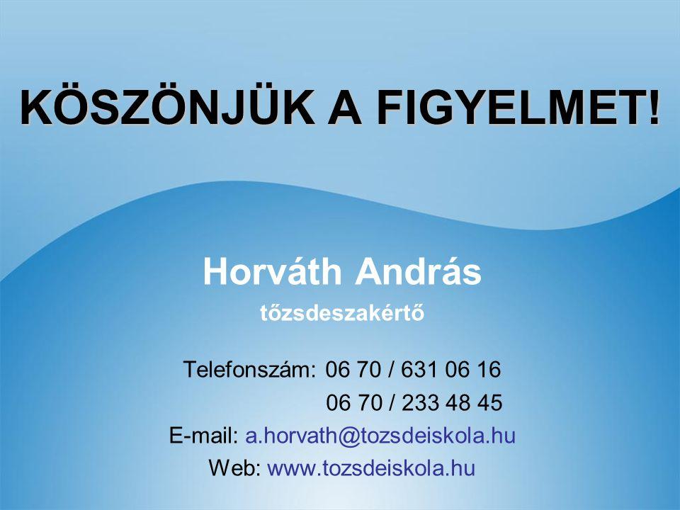 KÖSZÖNJÜK A FIGYELMET! Horváth András tőzsdeszakértő Telefonszám: 06 70 / 631 06 16 06 70 / 233 48 45 E-mail: a.horvath@tozsdeiskola.hu Web: www.tozsd