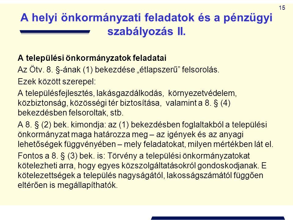"""15 A helyi önkormányzati feladatok és a pénzügyi szabályozás II. A települési önkormányzatok feladatai Az Ötv. 8. §-ának (1) bekezdése """"étlapszerű"""" fe"""