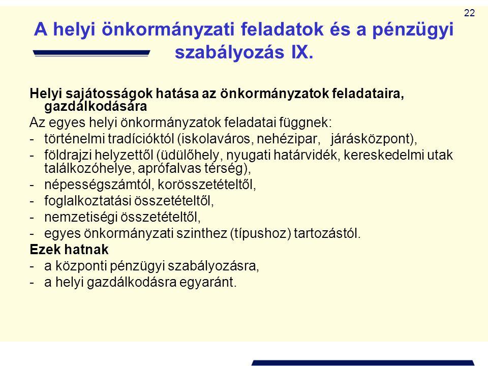 22 A helyi önkormányzati feladatok és a pénzügyi szabályozás IX. Helyi sajátosságok hatása az önkormányzatok feladataira, gazdálkodására Az egyes hely