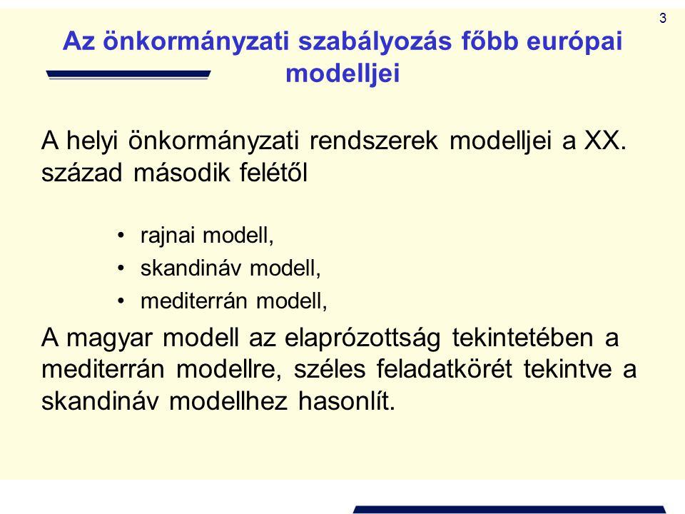 3 Az önkormányzati szabályozás főbb európai modelljei A helyi önkormányzati rendszerek modelljei a XX. század második felétől • rajnai modell, • skand