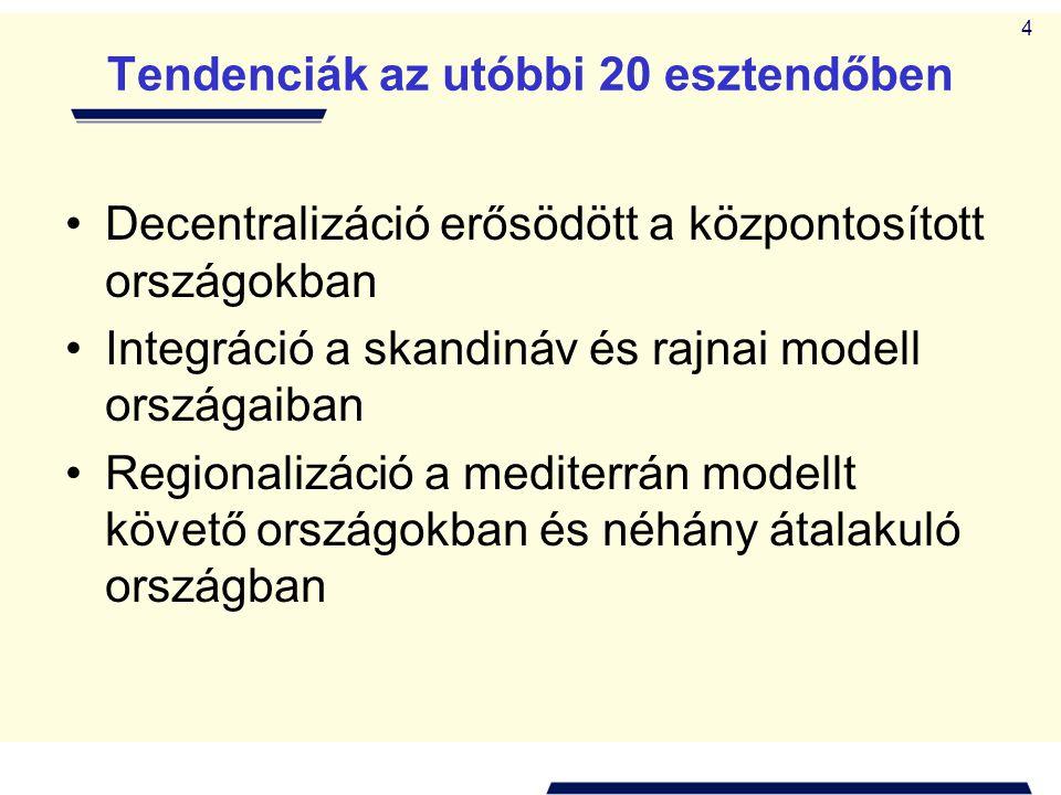 4 Tendenciák az utóbbi 20 esztendőben •Decentralizáció erősödött a központosított országokban •Integráció a skandináv és rajnai modell országaiban •Re
