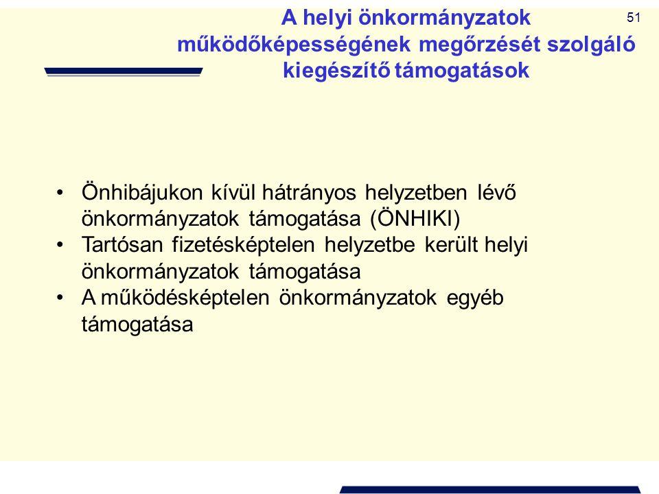 51 A helyi önkormányzatok működőképességének megőrzését szolgáló kiegészítő támogatások •Önhibájukon kívül hátrányos helyzetben lévő önkormányzatok tá