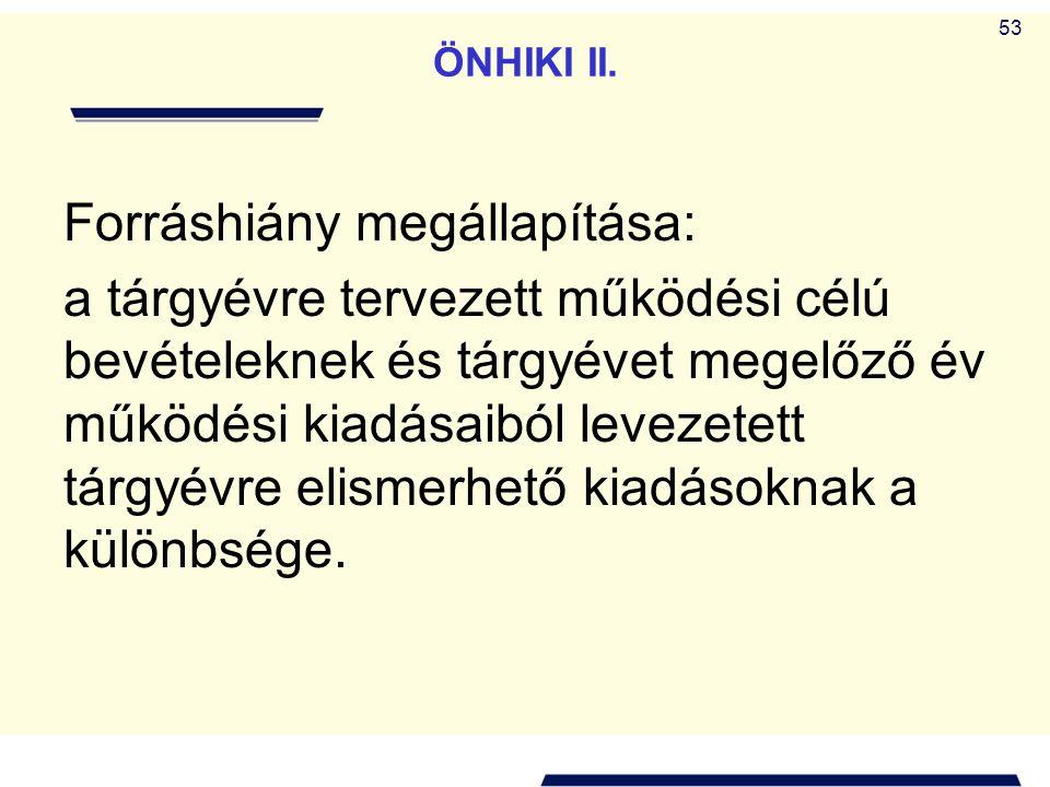 53 ÖNHIKI II. Forráshiány megállapítása: a tárgyévre tervezett működési célú bevételeknek és tárgyévet megelőző év működési kiadásaiból levezetett tár