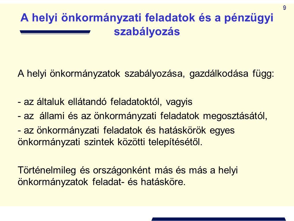 9 A helyi önkormányzati feladatok és a pénzügyi szabályozás A helyi önkormányzatok szabályozása, gazdálkodása függ: - az általuk ellátandó feladatoktó