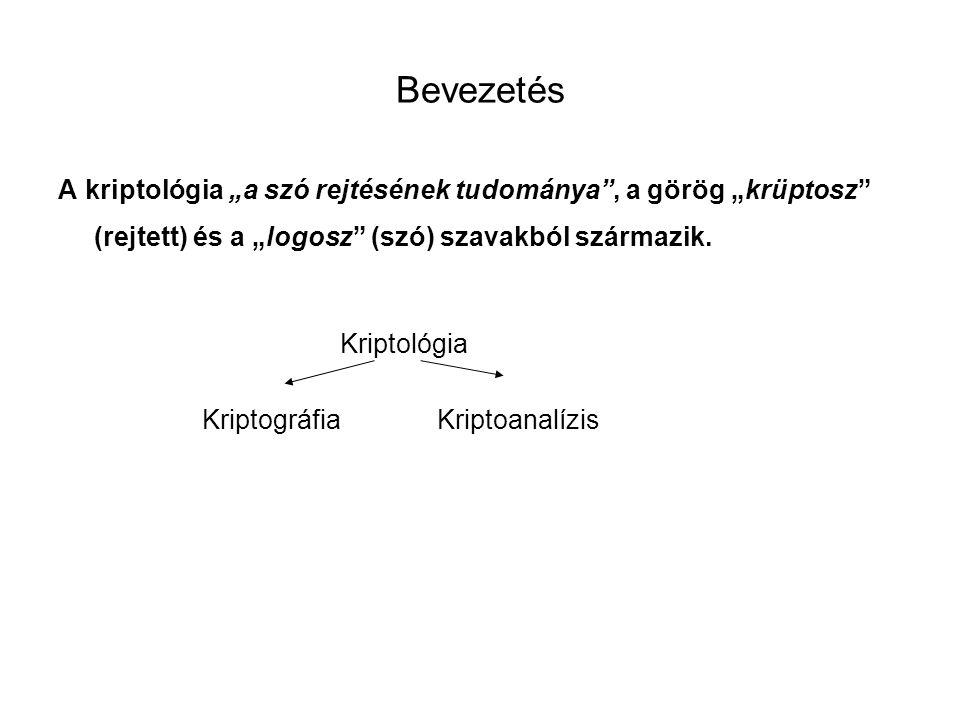 """Bevezetés A kriptológia """"a szó rejtésének tudománya"""", a görög """"krüptosz"""" (rejtett) és a """"logosz"""" (szó) szavakból származik. Kriptológia KriptográfiaKr"""
